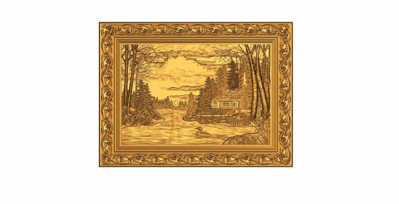göl evi 3d tablo