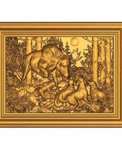 cnc 3d Ren Geyiği ve Av köpekleri tablosu